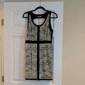 Cecico black and white lace keyhole dress